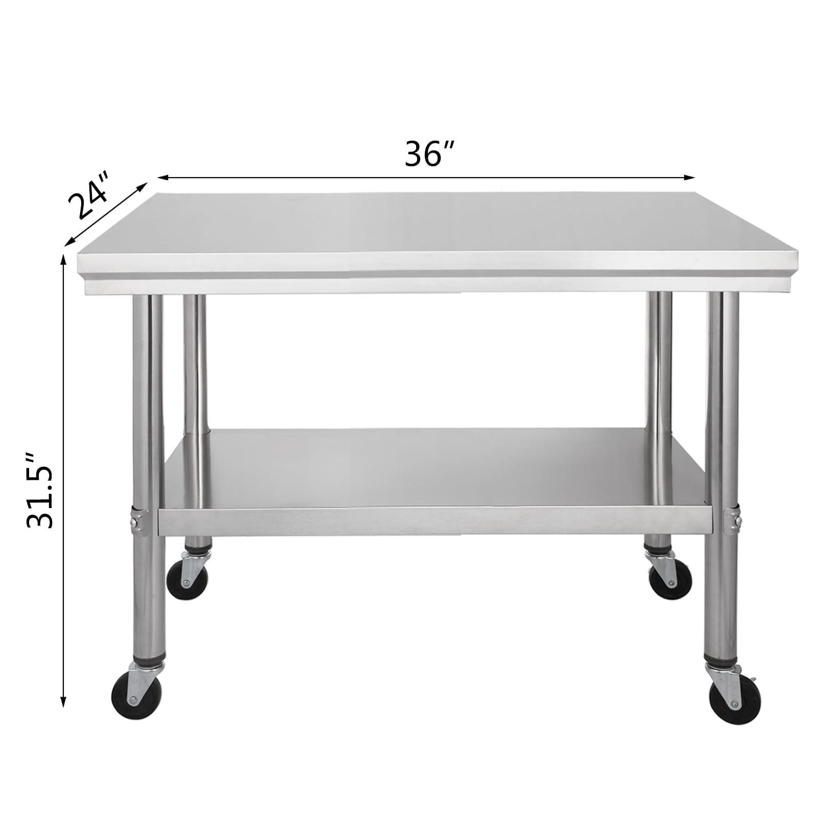 Vevor 36 X24 Work Table Stainless Steel Rolling Kitchen Cart W Casters Shelving Walmart Com Walmart Com
