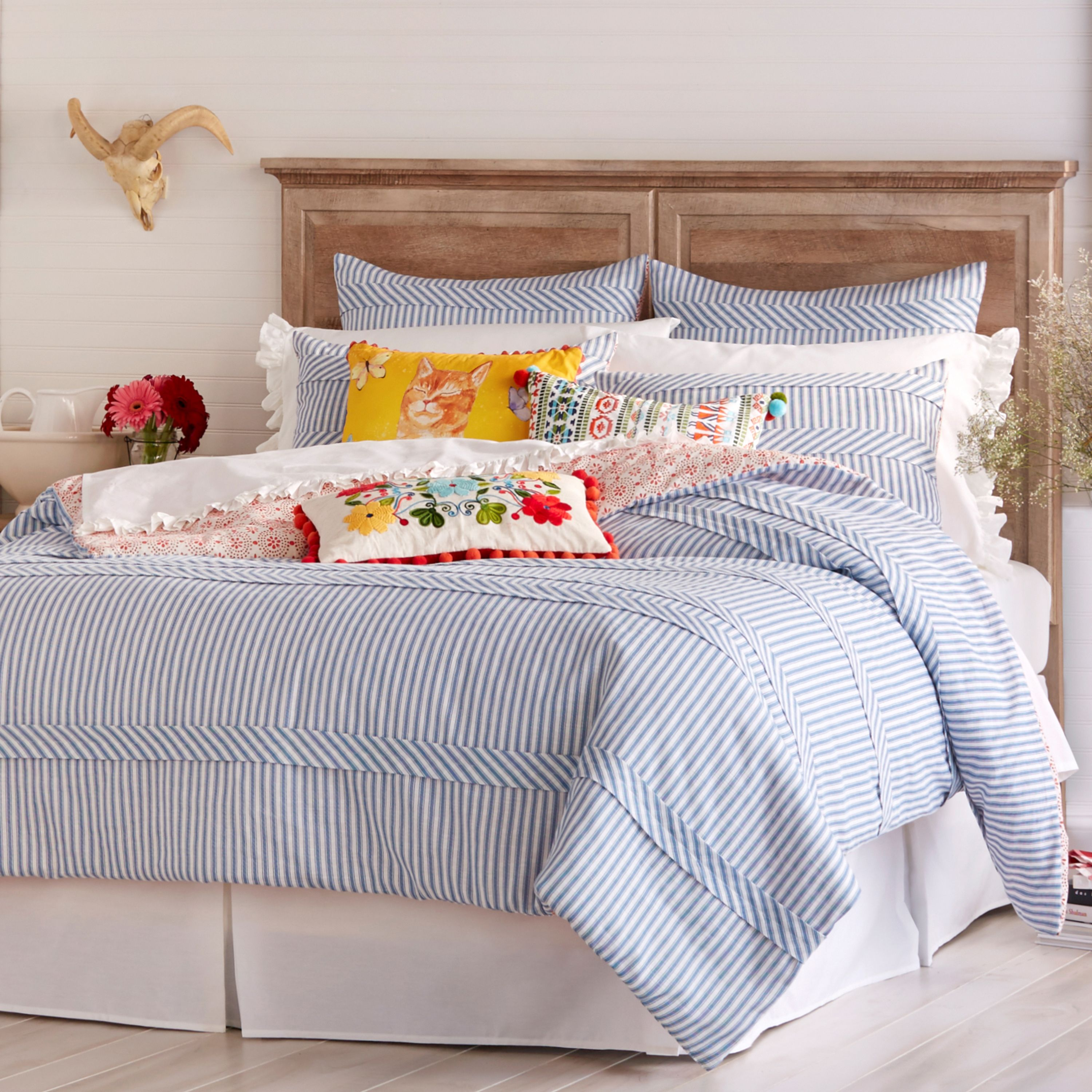 The Pioneer Woman Ticking Stripe Duvet Cover, Blue