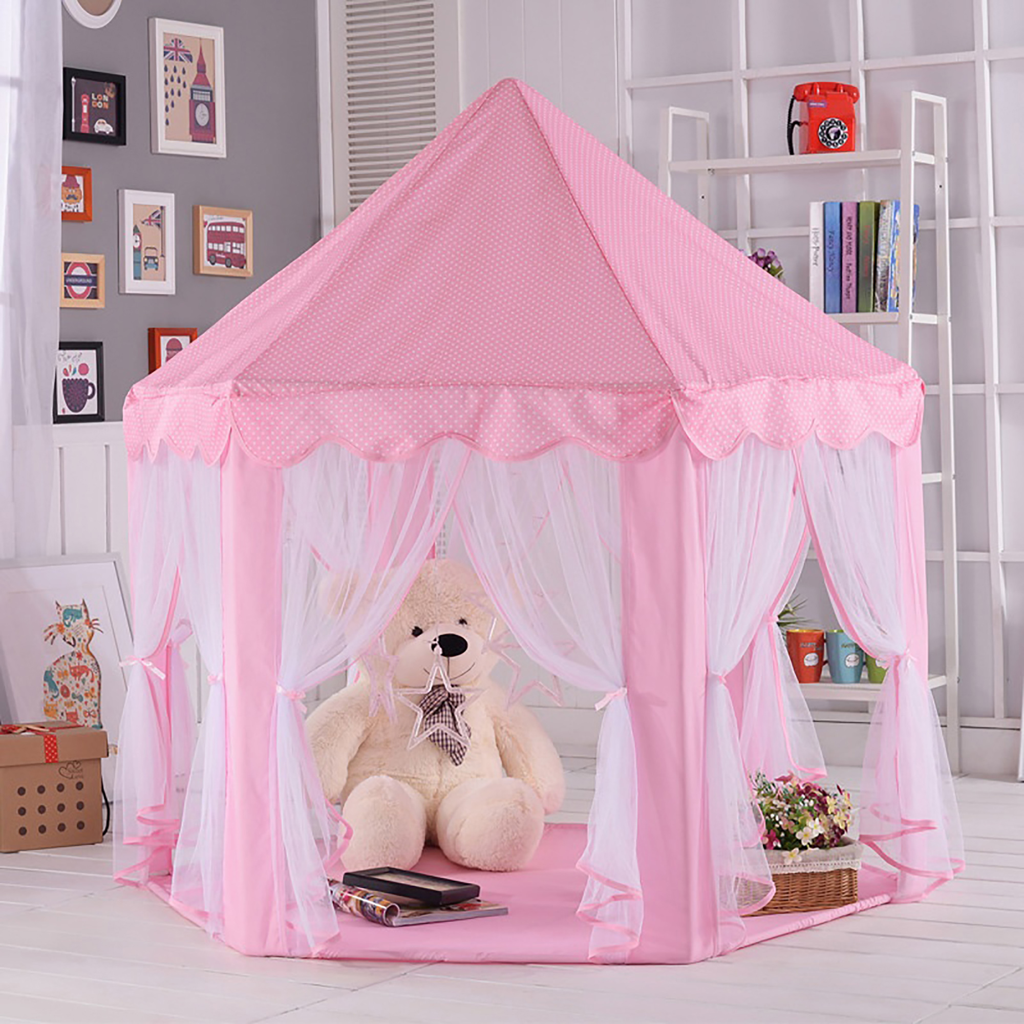 Tents for Girls, Outdoor Indoor Portable Folding Princess Castle Tent Kids Children Funny Play Fairy House... by