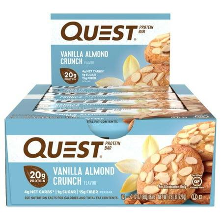 Quest Protein Bar, Vanilla Almond Crunch, 20g Protein, 12 (Carob Almonds)