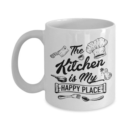 The Kitchen Is My Happy Place Ceramic Coffee & Tea Gift Mug For A Chef Dad, Cook Mom & Culinary Student Daughter Or Son