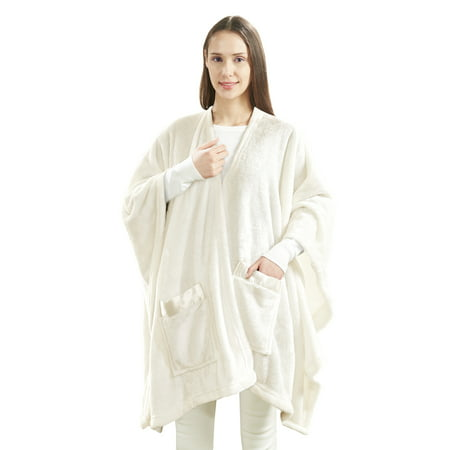 Angel Wrap Cozy Plush Glimmersoft Throw Blanket with Satin Trim Pockets
