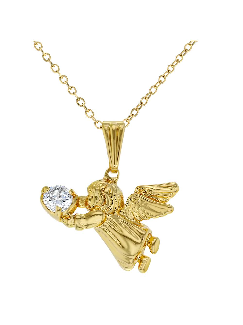 In Season Jewelry 18k Gold Plated Guardian Angel Pendant Necklace Kids Girls Children CZ 16""