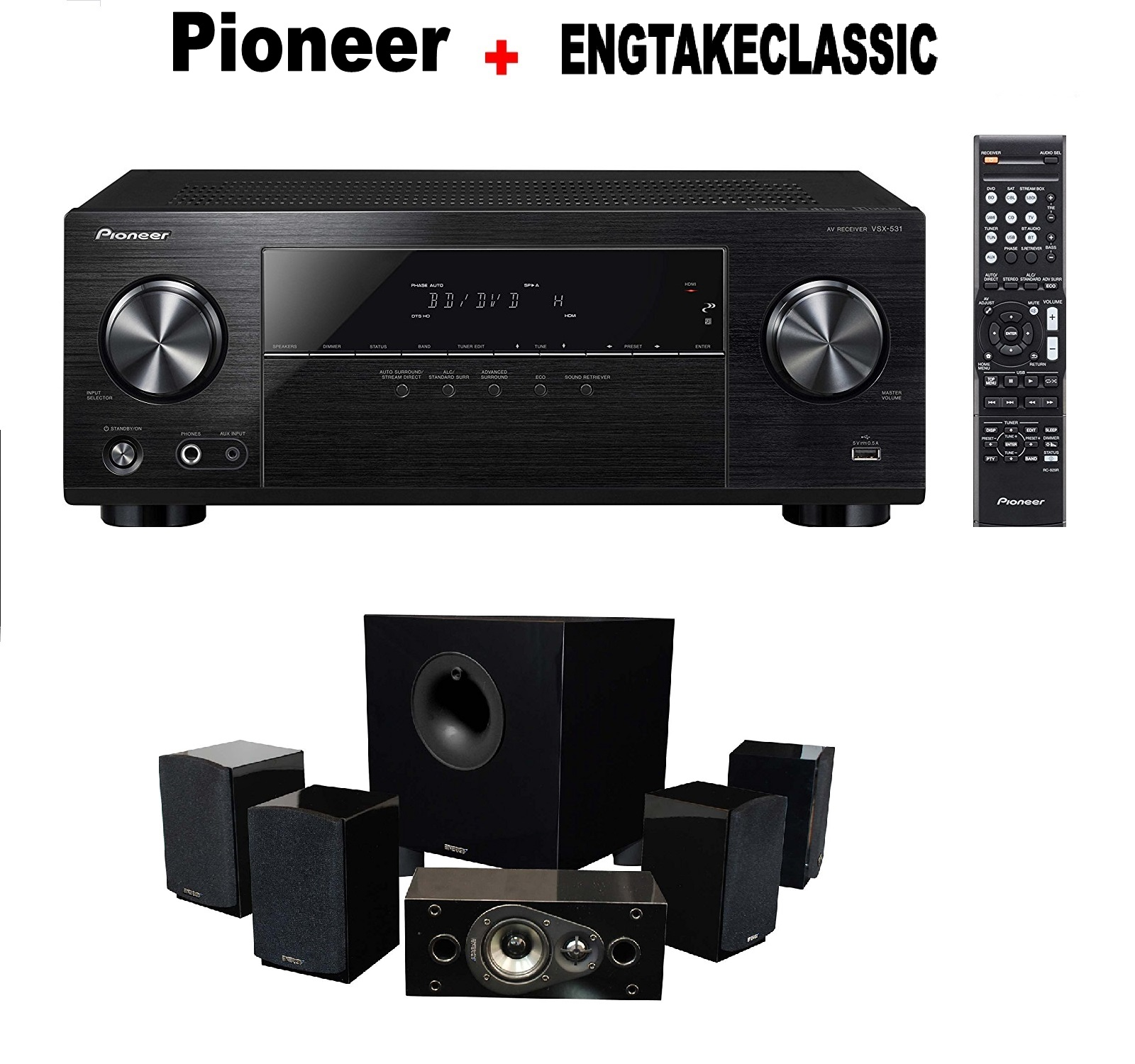 Pioneer VSX-531 5.1 Channel Network AV Receiver Audio & Video Component Receiver, Black + Energy 5.1 Take Classic Home Entertainment System (Set of Six, Black) Bundle