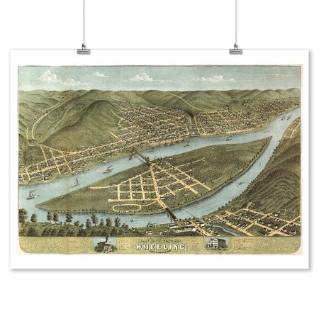 Wheeling  West Virginia   Panoramic Map  9X12 Art Print  Wall Decor Travel Poster