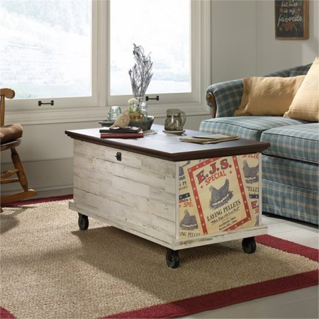 Pemberly Row Rolling Trunk Coffee Table in White Plank (Espresso Trunk Coffee Table)