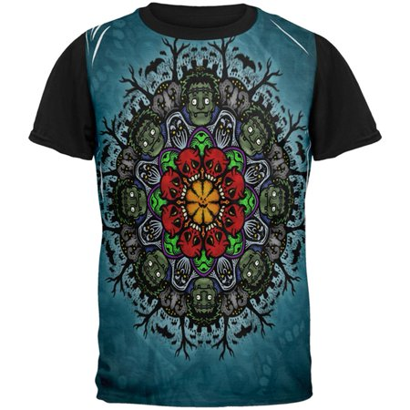 Halloween Classic Movie Monster Mandala All Over Mens Black Back T Shirt - Coloriage Mandalas Halloween