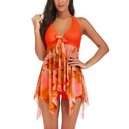 7c70bef0b4 Sexy Dance - Swimdress+Shorts Plus Size S-XXXXXL Women Tankini Set V-neck  Halterneck Backless Two-Piece Swimsuit Padded Push-up Beachwear Swimming  Bathing ...