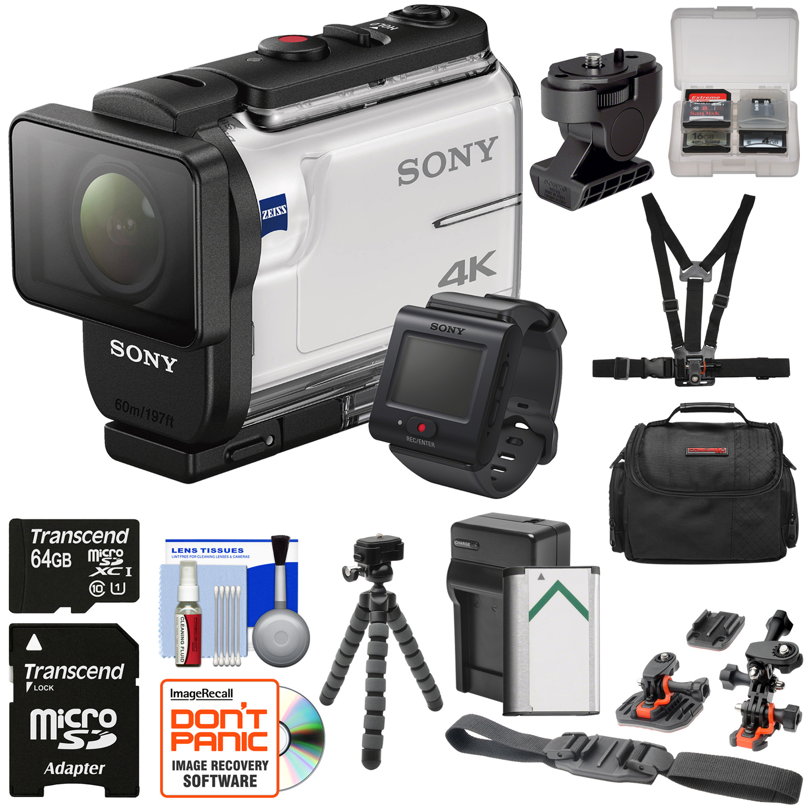 Sony Action Cam FDR-X3000R Wi-Fi GPS 4K HD Video Camera Camcorder & Live View Remote + Tilt Adapter + Action... by Sony