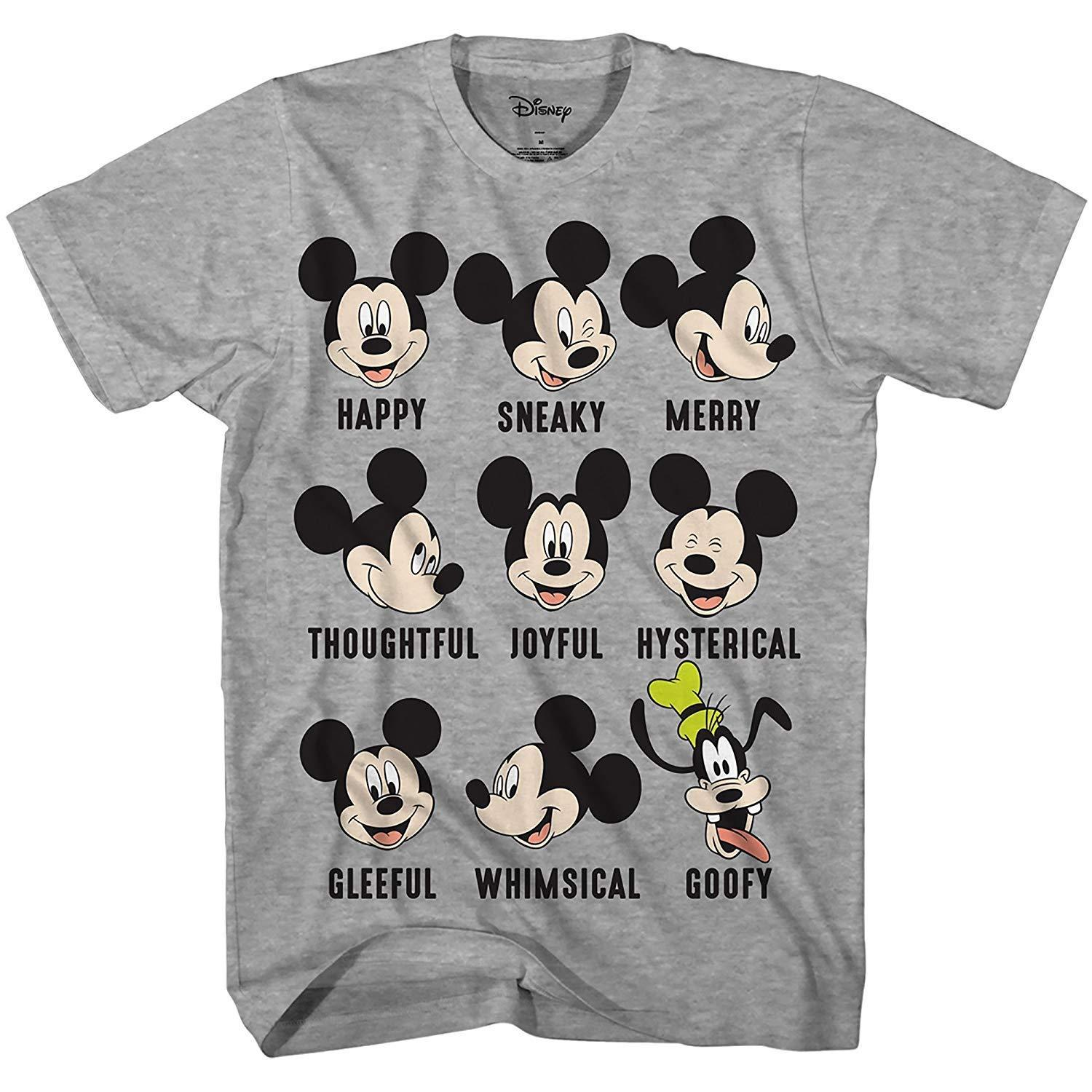 Disney Mickey Mouse Goofy Expressions Mood Disneyland World Funny Humor Pun Mens Adult Graphic Tee T-Shirt (Heather Grey)