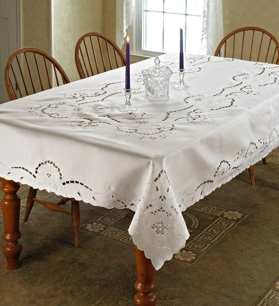 Sapphire Embroidered Design Tablecloths