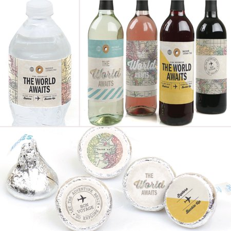 World Awaits - Travel Themed Party Decorations & Favors Kit - Wine, Water and Candy Labels Trio Sticker Set - Wine Party Favors