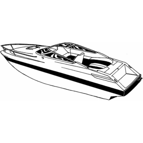Carver Styled-To-Fit Boat Cover for V-Hull, Low Profile Cuddy Cabin Boats with Windshield and Bow Rails