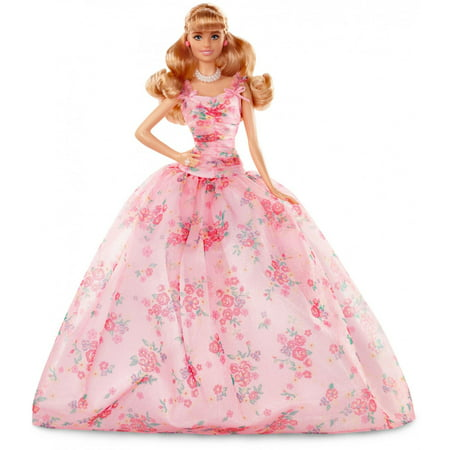Barbie Birthday Wishes Doll with Half Up Hairstyle & Pink Gown - Barbie Birthday Supplies