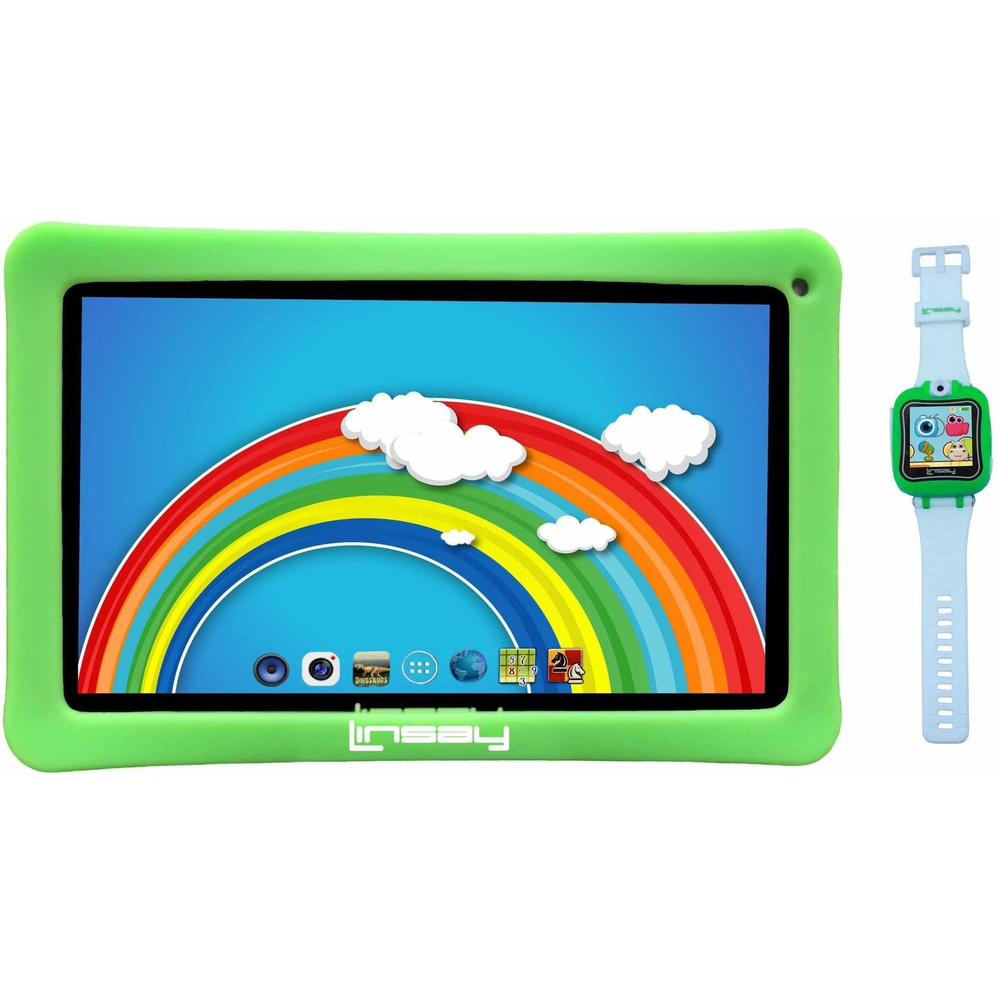 "LINSAY Kids Funny 10.1"" Touchscreen Quad Core Tablet PC Featuring Android 4.4 (KitKat) Operating System Bundle with Green Kids Smart Watch"