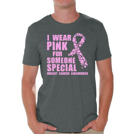 Awkward Styles Cancer Shirts I Wear Pink For Someone Special T-Shirt Breast Cancer Awareness Men's Shirt Breast Cancer Survivor Gifts Pink Ribbon Tshirt for Men Pink Cancer Support Ribbon Tshirt