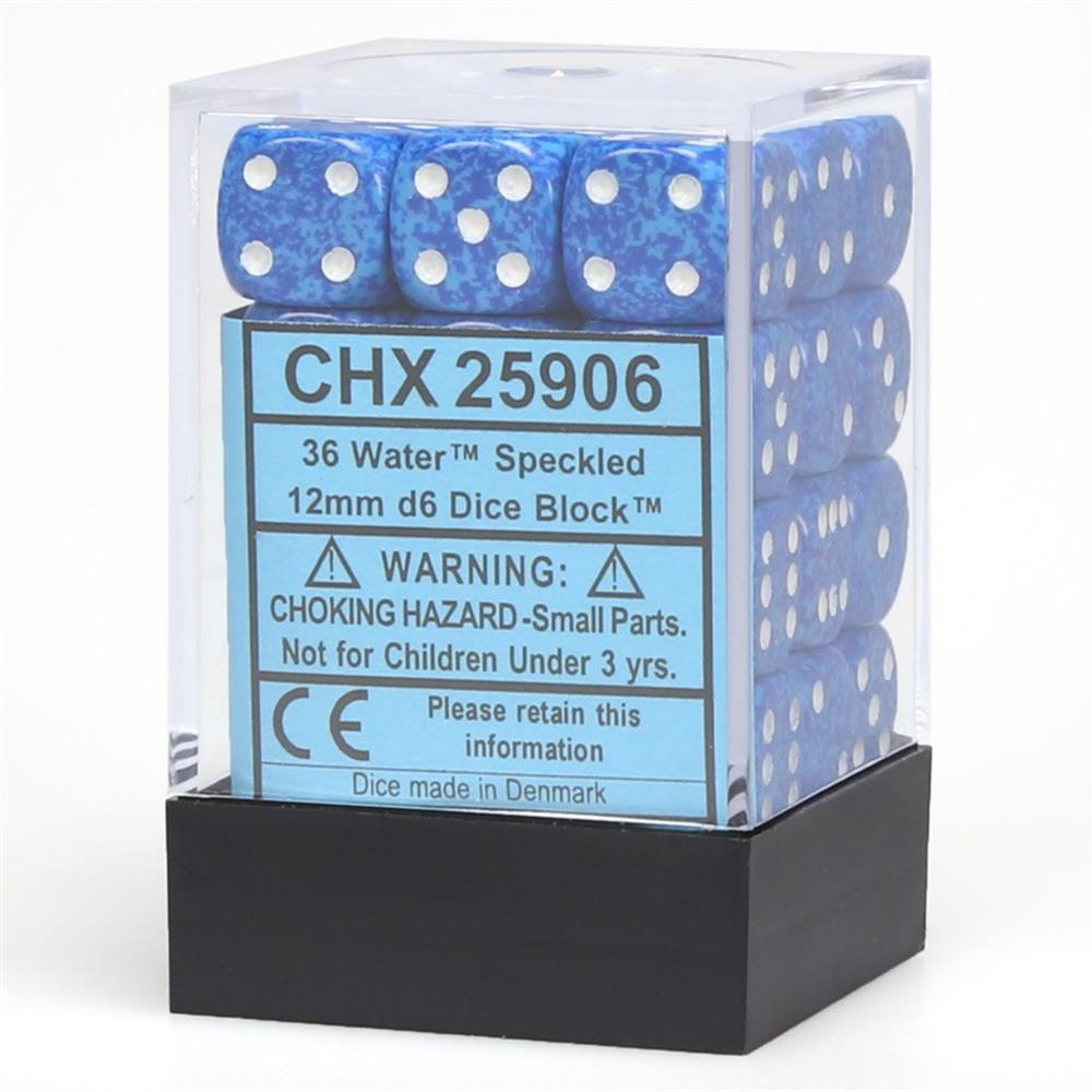 d6Cube12mmSP Water (36) - Speckled D6 Set of 12 16mmpip Chessex Manufacturing CHX25906