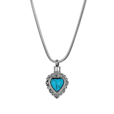 Anavia Vintage Turquoise Heart Memorial Necklace Stainless Steel Cremation Jewelry with Free Funnel Kit and Velvet Jewelry Box
