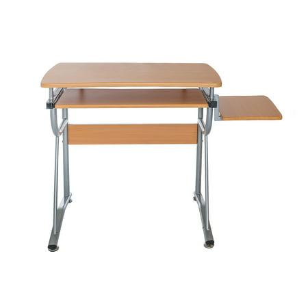 Techni Mobili Compact Computer Desk with Side Shelf, Cherry