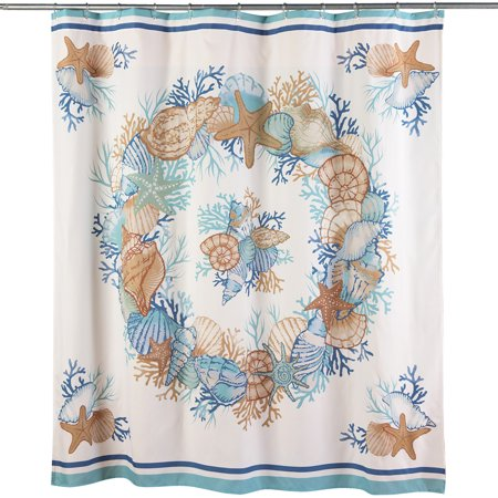 Seashell Shower Curtain Beach Bathroom Decor