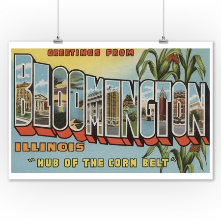 Greetings from Bloomington, Illinois (Corn Background) (9x12 Art Print, Wall Decor Travel Poster) (Party City Bloomington Illinois)