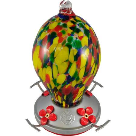 Grateful Gnome, Speckled Egg Blown Glass Hummingbird Feeder
