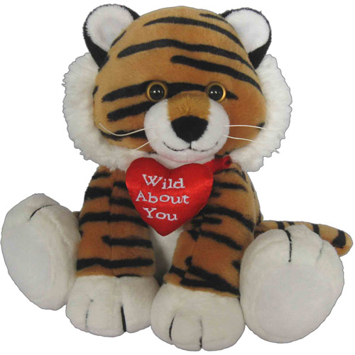 First & Main Valentines Plush Stuffed Tiger with Heart Pillow, 7""