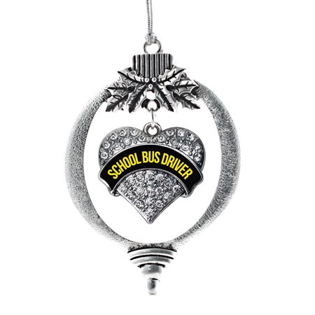 Black and Yellow School Bus Driver Pave Heart Holiday Ornament