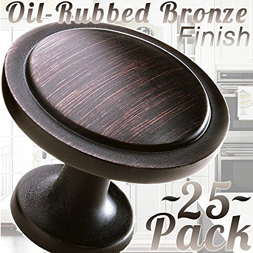 "Cabinet Hardware Round Knob - 1-1/4"" Diameter (Knob - Oil Rubbed Bronze, 25 PACK)"