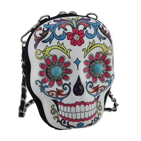 Western Sugar Skull Decorated Molded Purse W Removable Strap