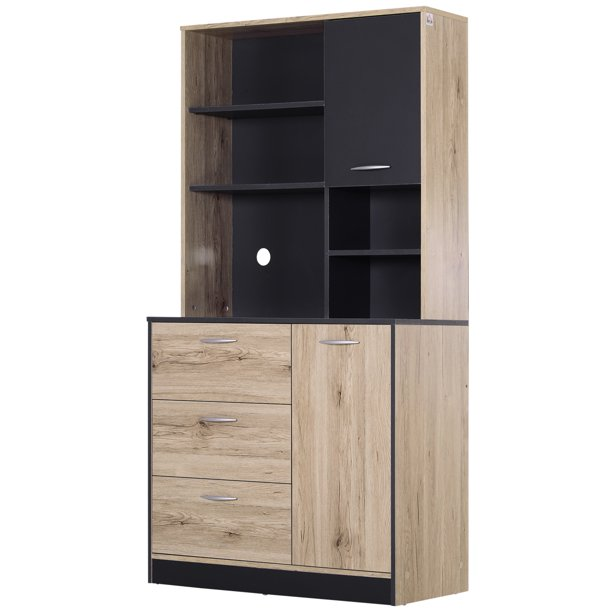 Homcom 67 Modern Freestanding Kitchen Cupboard Cabinet With Microwave Storage Hutch Natural Wood Finish Charcoal Walmart Com Walmart Com