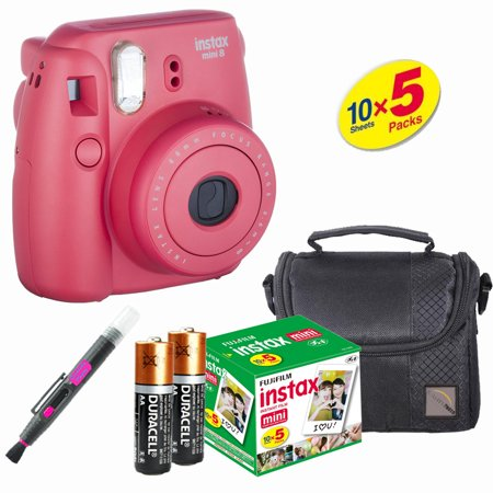 Fujifilm Instax Mini 8 Instant Film Camera Raspberry - Fujifilm Instax Film 50 PCS - Compact Case - Quality Photo Brush