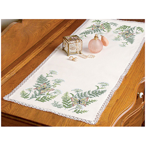 "Dimensions ""Butterflies and Fern"" Dresser Scarf Stamped Cross Stitch, 14"" x 37"""