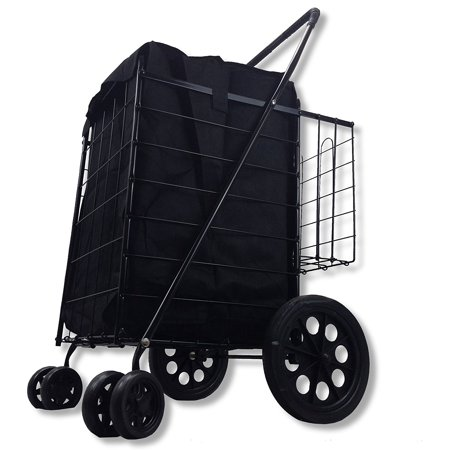 - LavoHome Folding Shopping Cart Swivel Wheel Extra Basket Jumbo Black with Liner by SCF