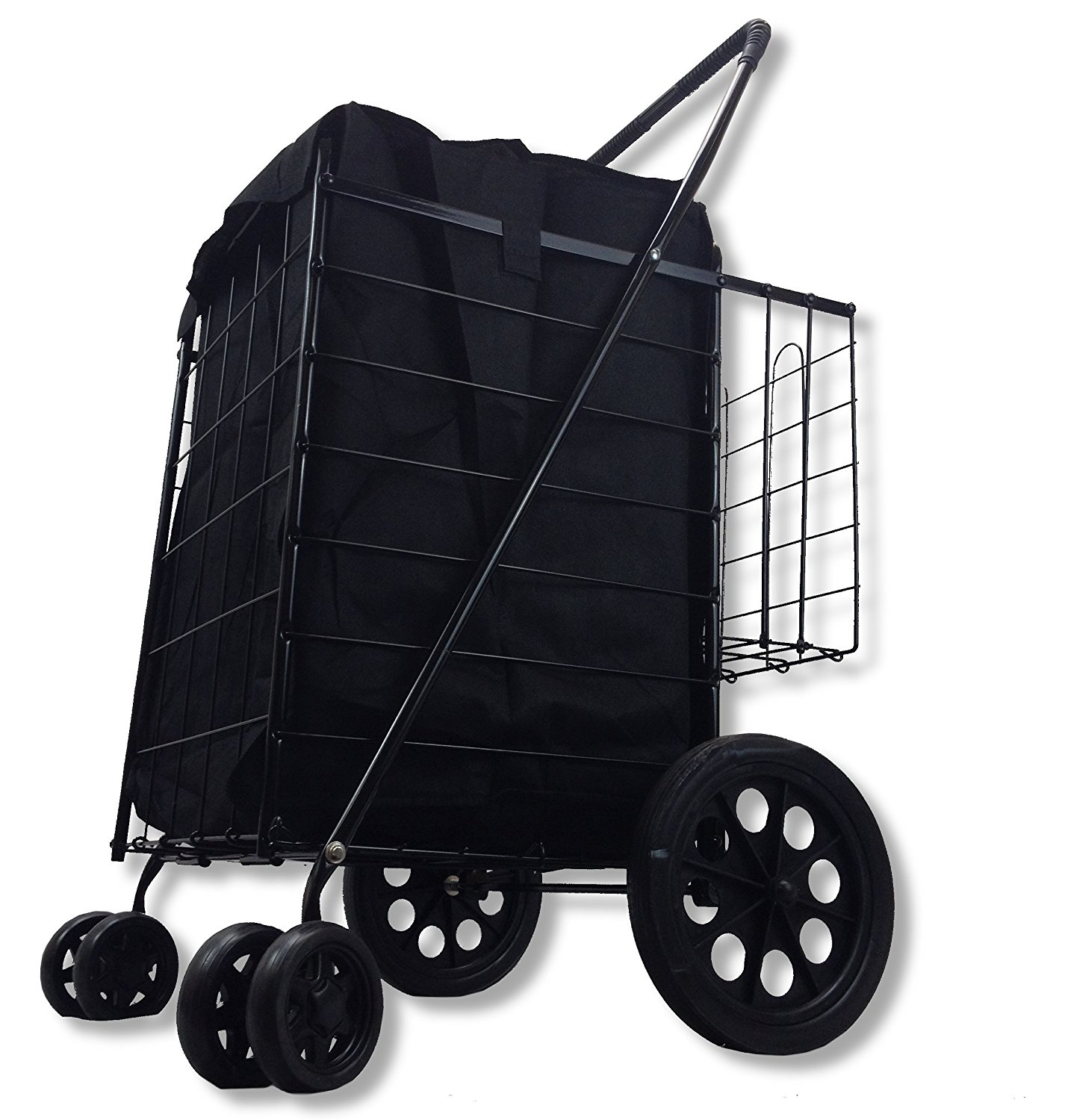 LavoHome Folding Shopping Cart Swivel Wheel Extra Basket Jumbo Black with Liner by SCF