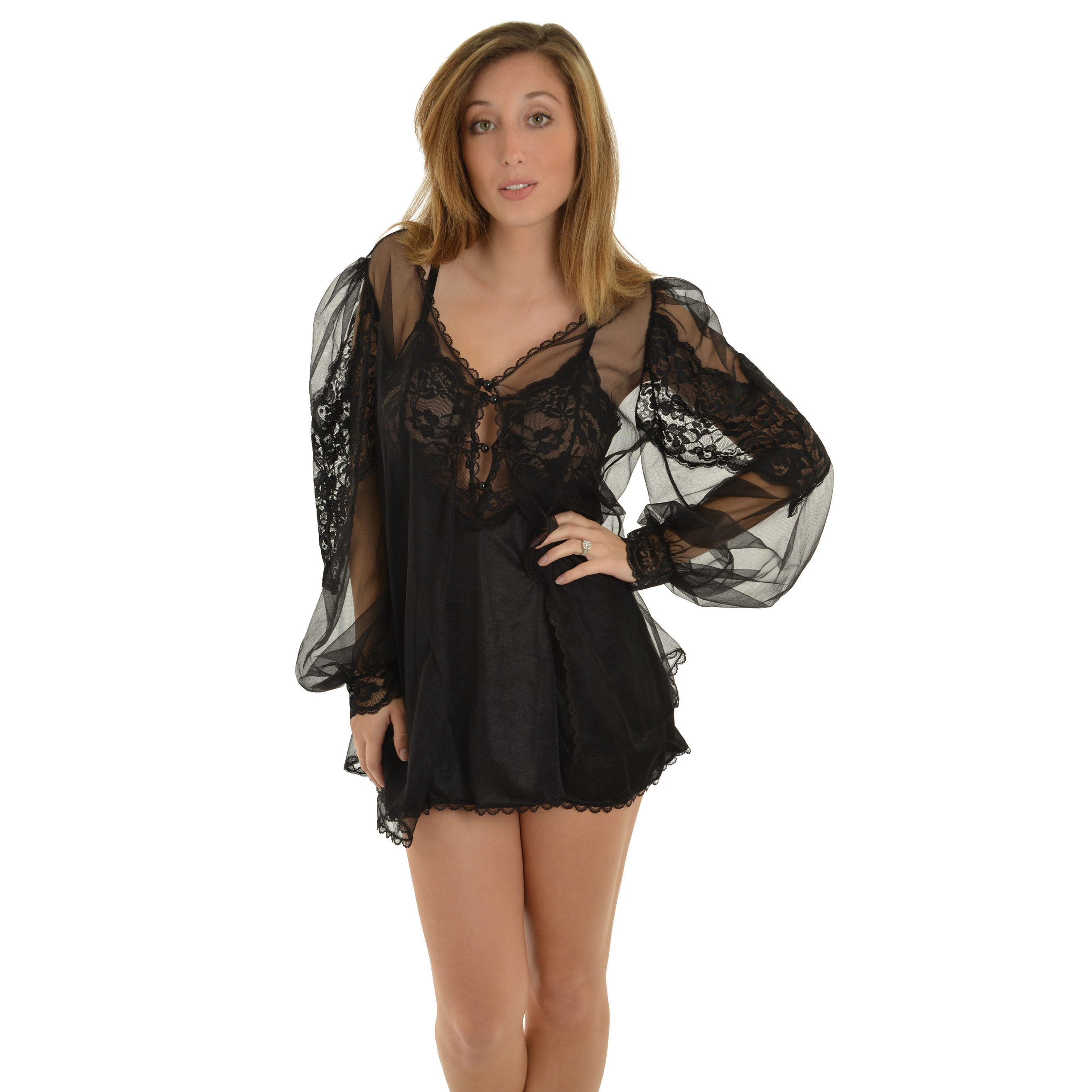 Fantasy Womens Black Classy Lingerie 3 Piece Set Chemise Panty and Mesh Robe