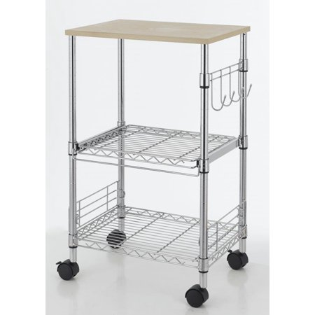 Chrome 3 Tier Wire Rolling Kitchen Cart Utility Food
