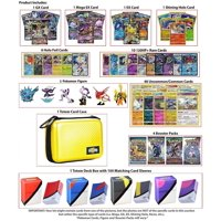 Totem World Pokemon Premium Collection 100 Cards with GX Mega EX Shining Holo 10 Rares 4 Booster Pack - 100 Sleeves - Yellow Card Case - Deck Box and Figure