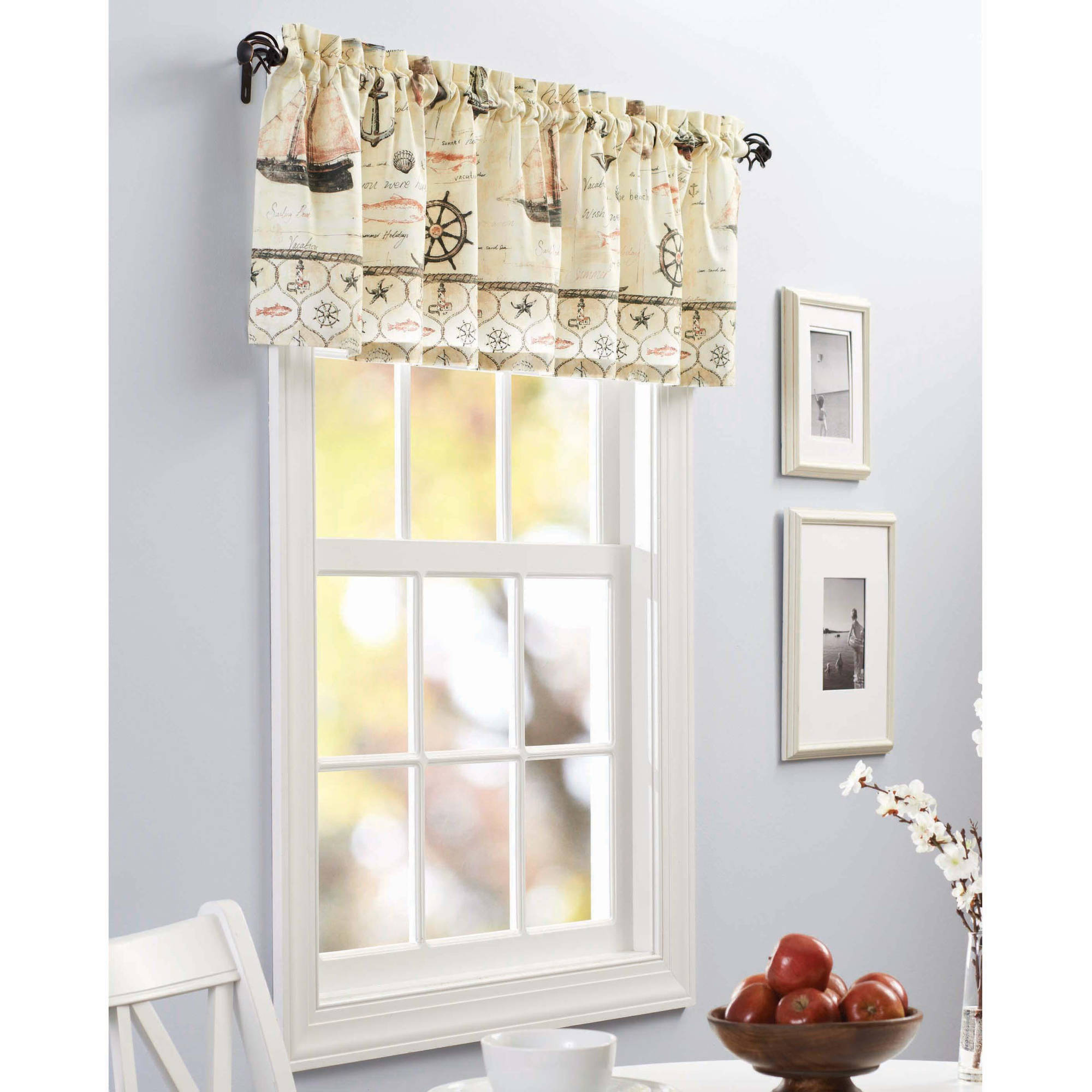 Kitchen Valances Better Homes And Gardens Nautical Kitchen Curtains Set Of 2 Tier