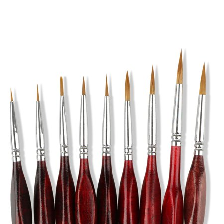 TSV 9 PCS Miniature Paint Brush Set Professional Sable Hair Fine Detail Art Nail Model