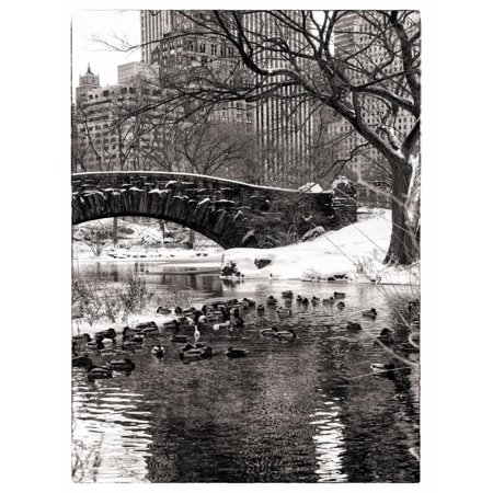The Gapstow Bridge of Central Park in Winter, Manhattan in New York City Print Wall Art By Philippe Hugonnard - Halloween City Winter Park