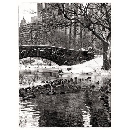 The Gapstow Bridge of Central Park in Winter, Manhattan in New York City Print Wall Art By Philippe Hugonnard