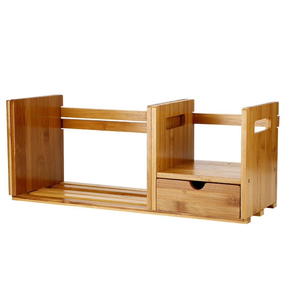 Knifun Bamboo Adjustable Bookshelf Book Storage Organizer with Single Drawer for Bedroom Office,Bookshelf, Adjustable Bookshelf