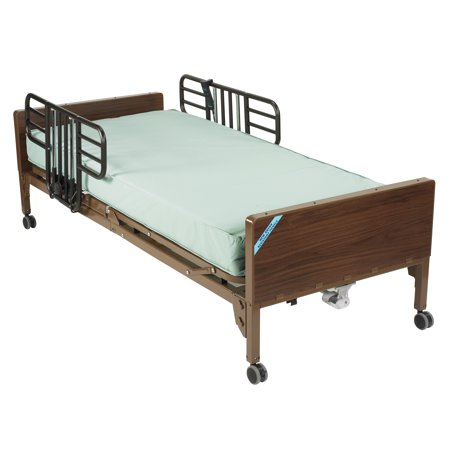 (Drive Medical Ultra Light Full Electric Bed With Half Rails And 80 Inches Inner Spring Mattress, Brown Vein)