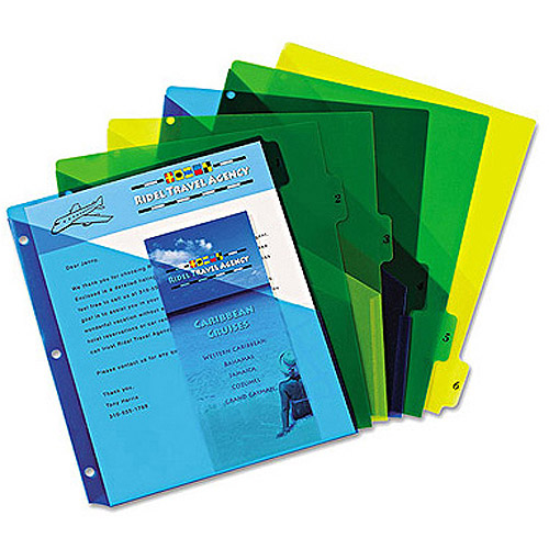 "Avery Preprinted 6-Tab Double Dividers, 11"" x 8-1/2"", Assorted"