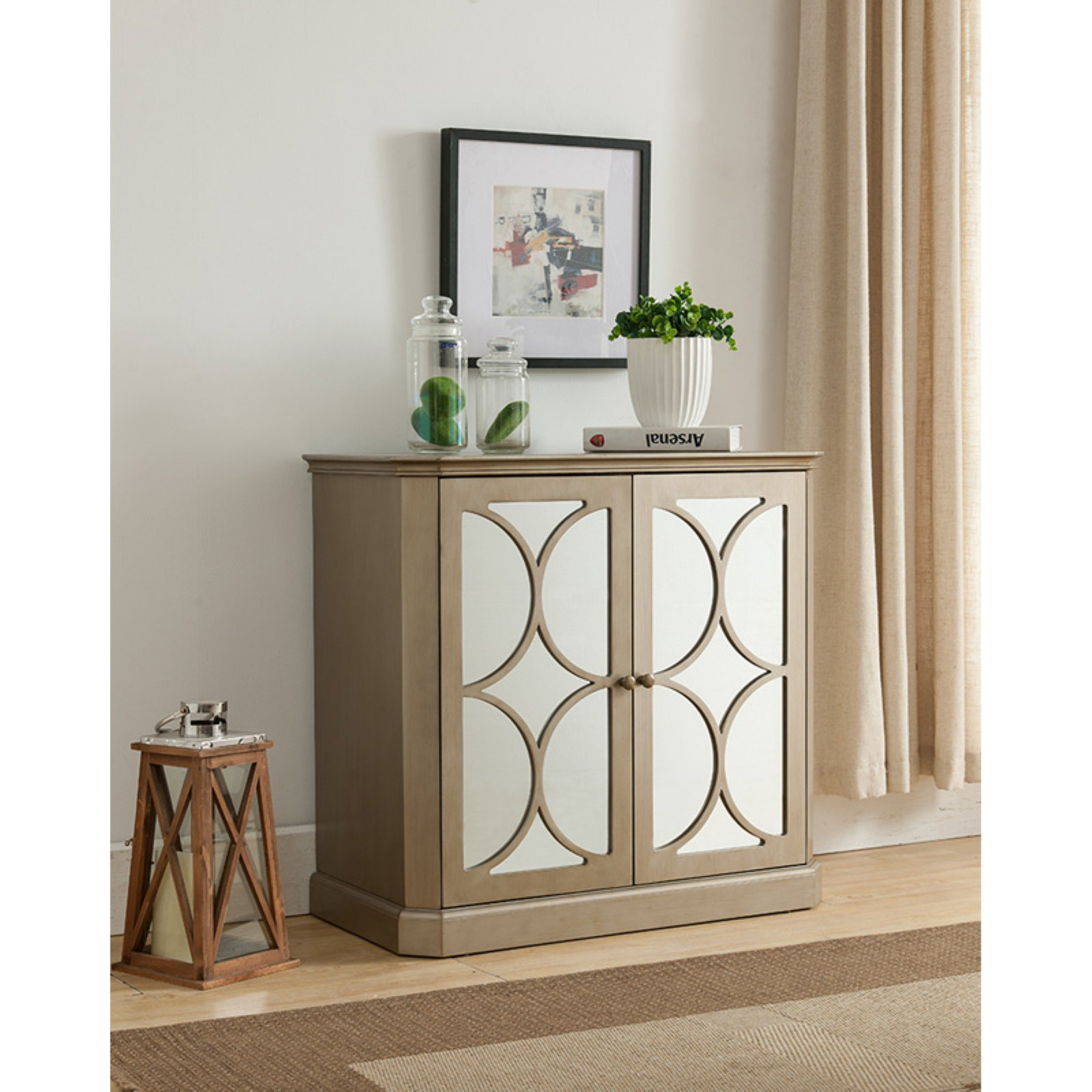 K&B Furniture Gold Wood 2 Door Storage Cabinet