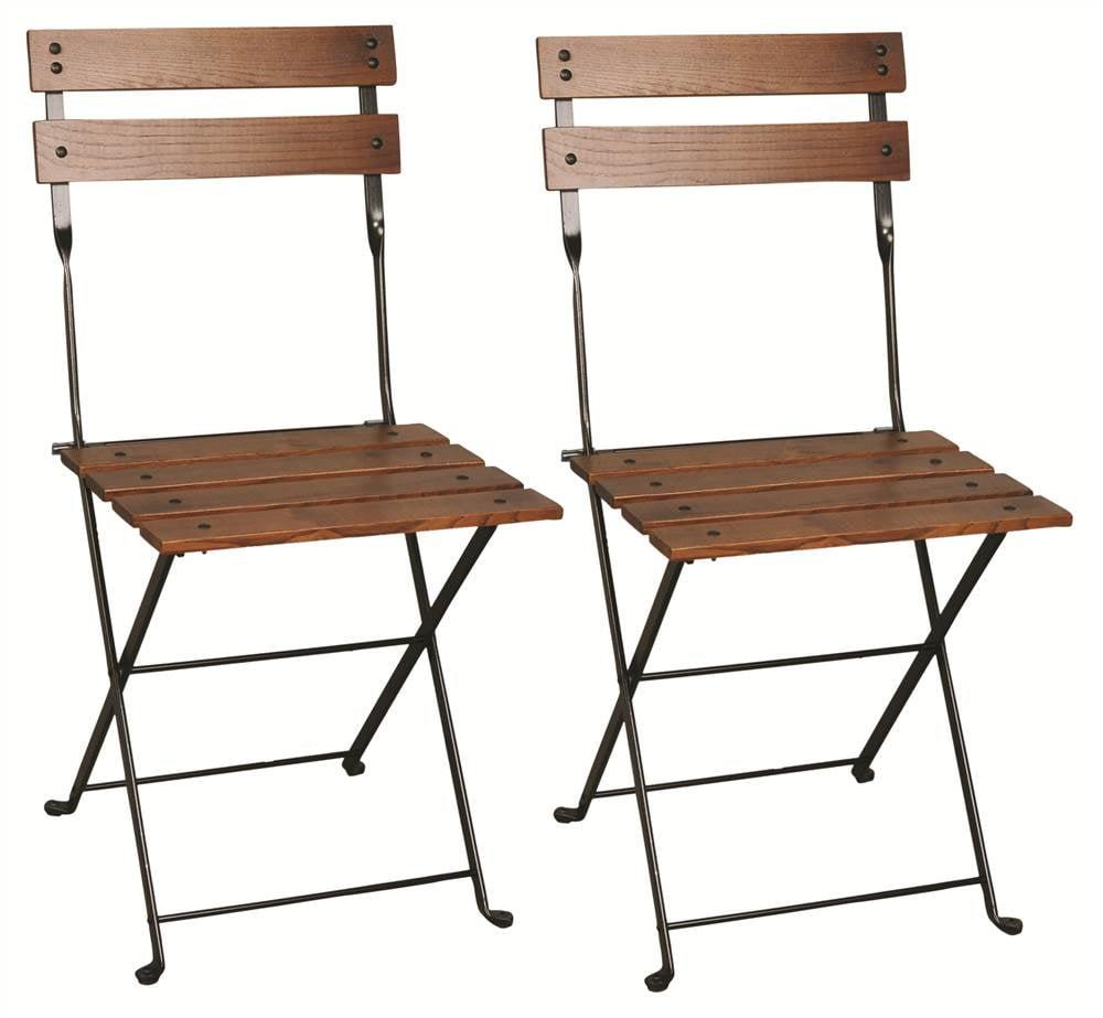 European Cafe Folding Side Chair in European Chestnut w 2 Wood Slat Back- Set of 2