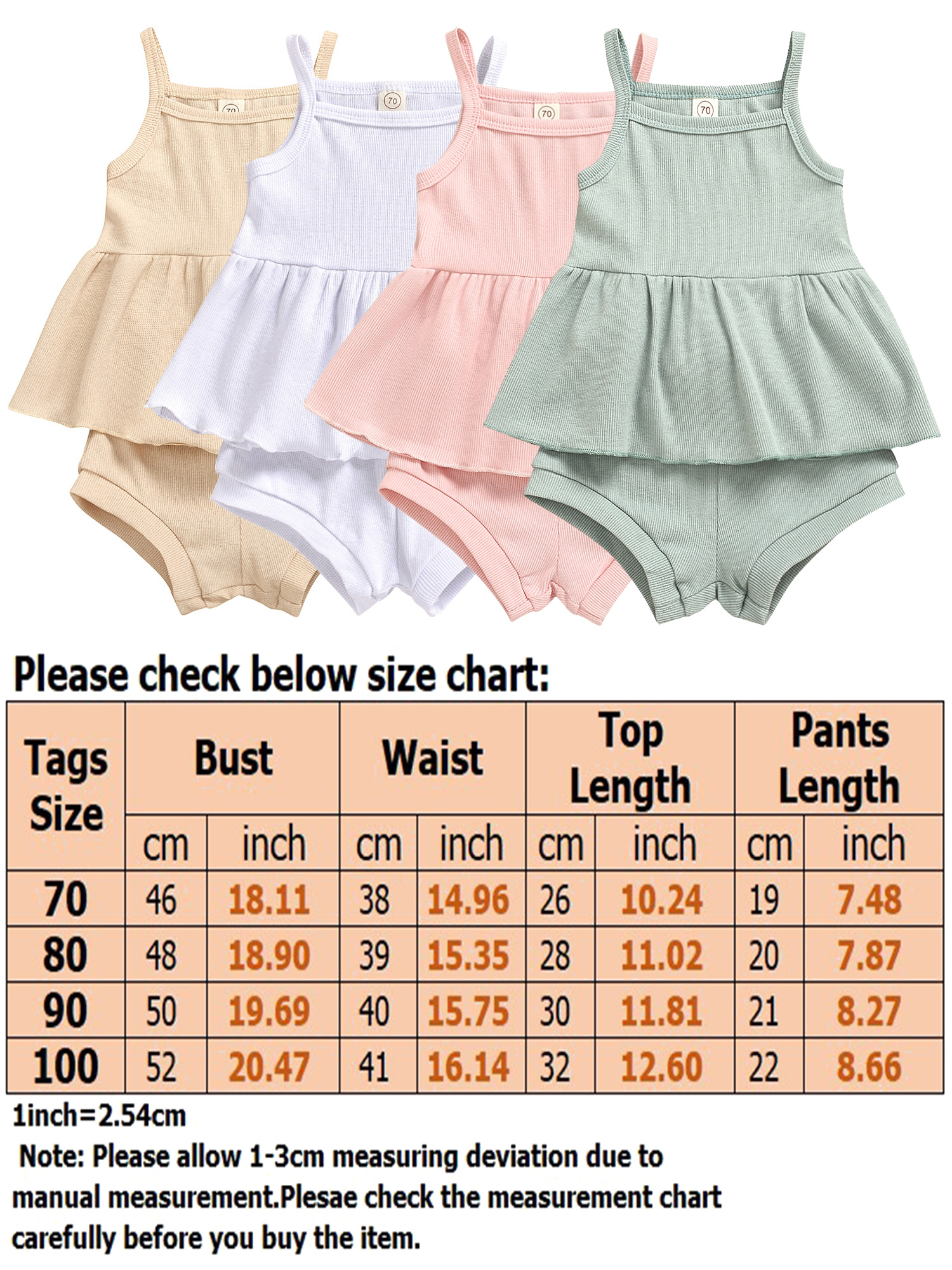 Newborn Baby Girl Knitted Clothes Sleeveless Tank Tops T-Shirt/&Shorts 2 Pieces Ribbed Outfits Set