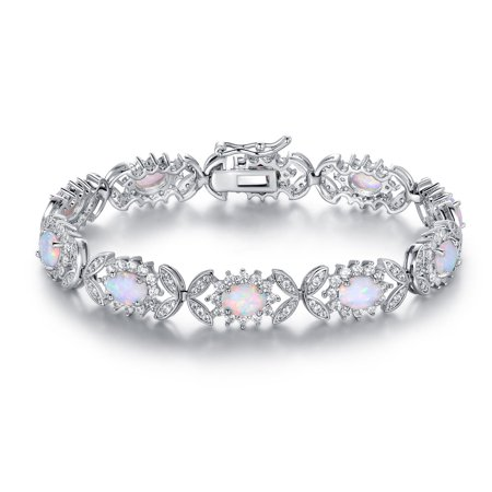 White Gold Pink Tourmaline Bracelet - 18K White Gold Plated Fire Opal Alternating Butterfly Tennis Bracelet