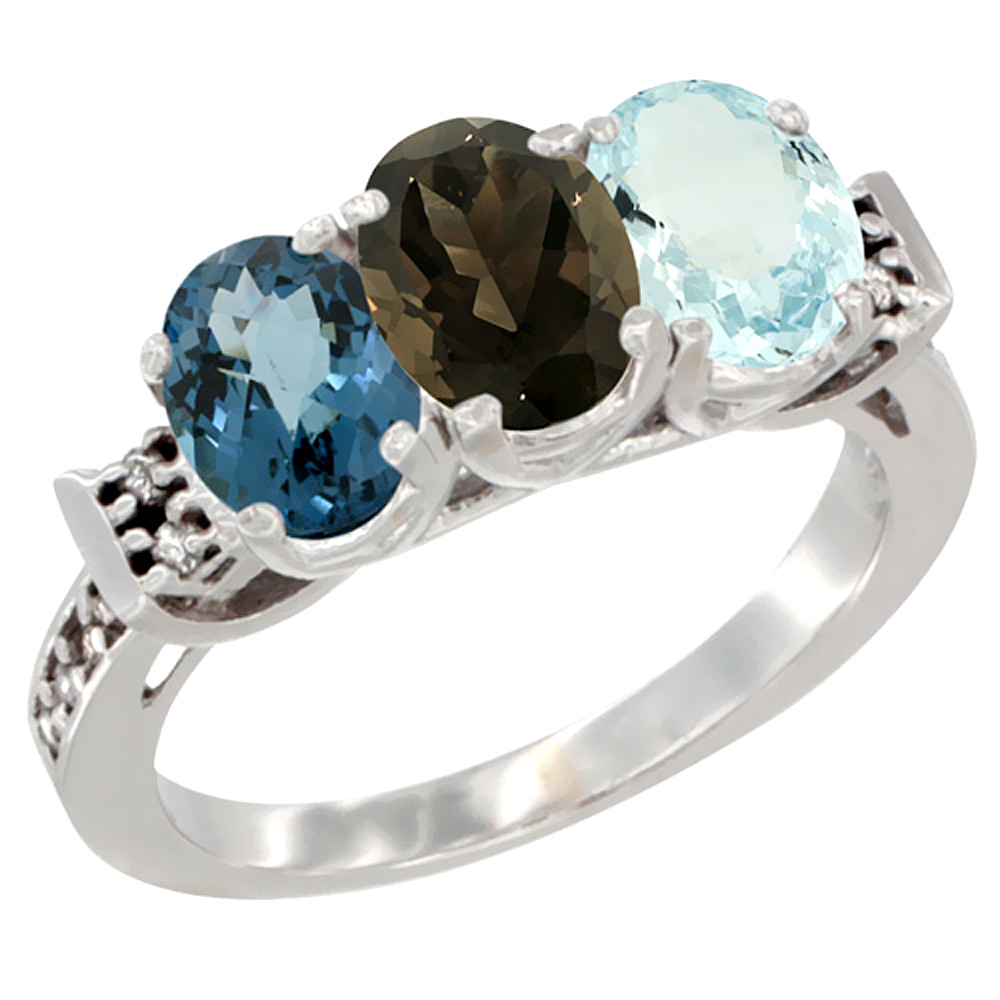 10K White Gold Natural London Blue Topaz, Smoky Topaz & Aquamarine Ring 3-Stone Oval 7x5 mm Diamond Accent, sizes 5 10 by WorldJewels